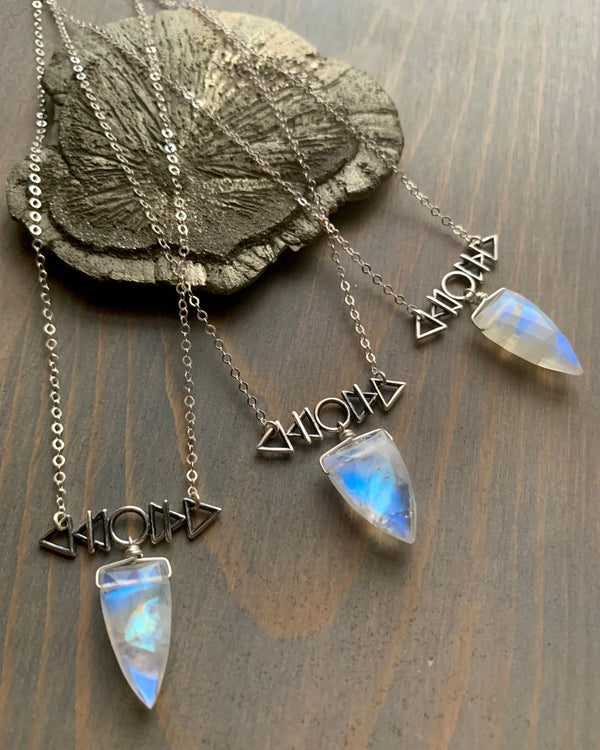 • AFEW [air, fire, earth, water] • rainbow moonstone + silver necklace