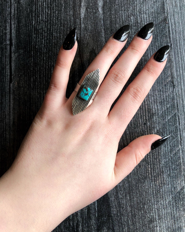 • MARQUISE • Turquoise + Silver Ring