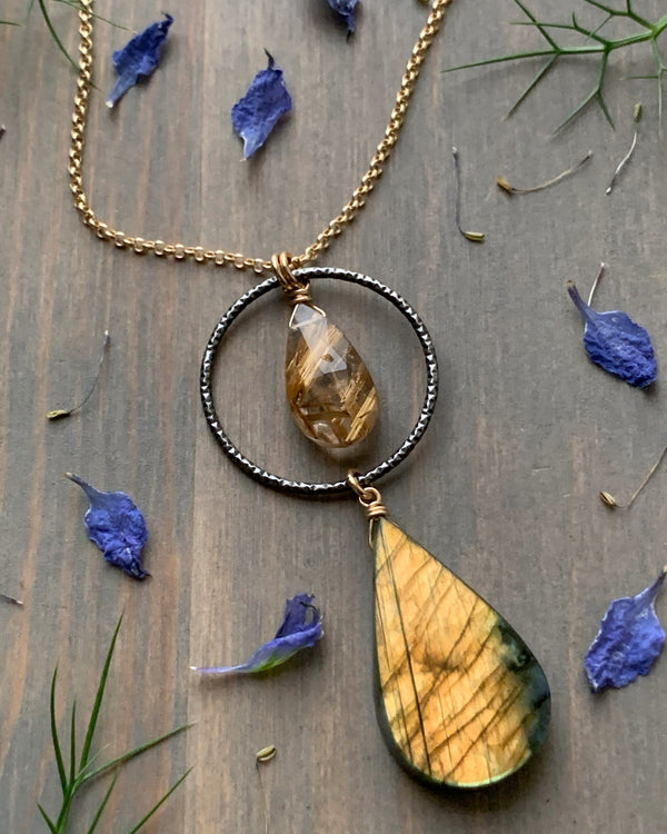 "• LUNA • 16""-18"" labradorite + rutilated quartz mixed metal necklace"