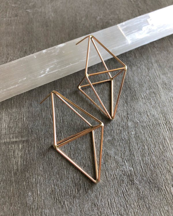 • OCTAHEDRON • post dangle earrings