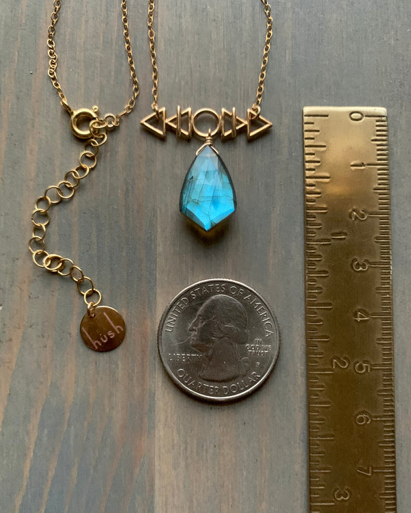 • AFEW [air, fire, earth, water] •labradorite + gold necklace