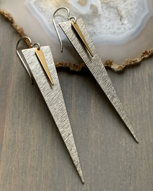 • DOUBLE DAGGER •  mixed metal earrings