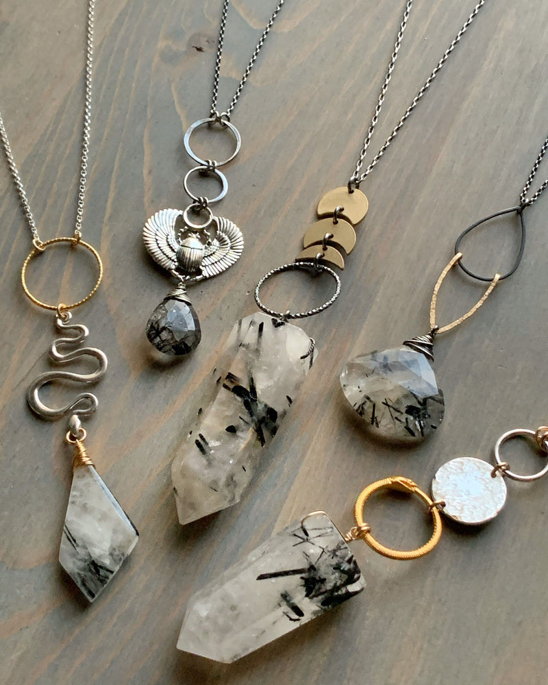• GIZA • tourmalinated quartz + silver necklace