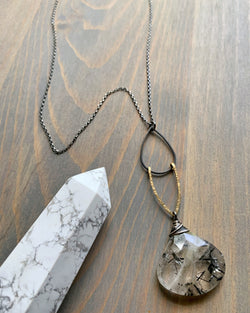 "• AEON • 28""-30"" tourmalinated smoky quartz + mixed metal necklace"