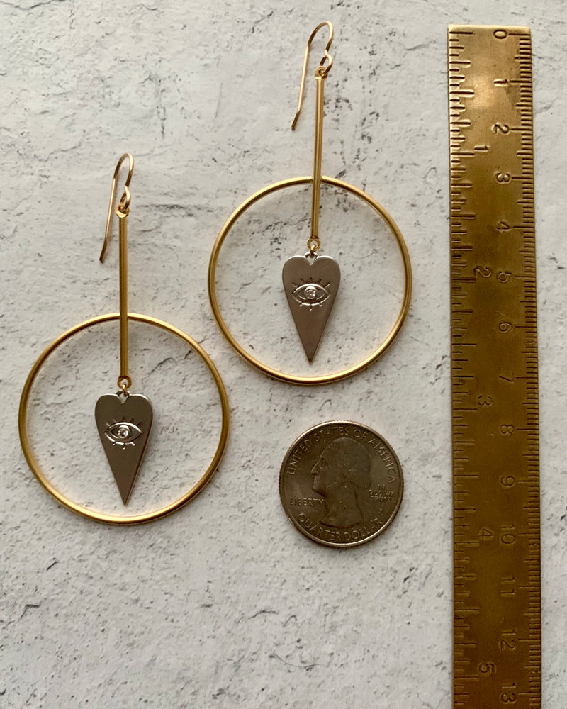 • GUIDANCE FROM ORCINY •  mixed metal medium hoop earrings