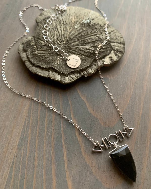 • AFEW [air, fire, earth, water] • black spinel + silver necklace