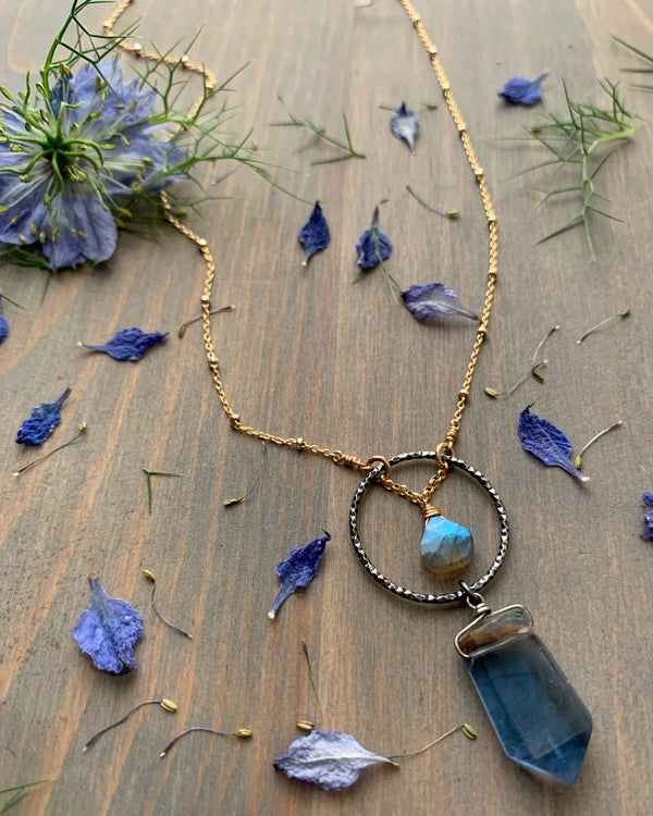 "• LUNA • 16""-18"" labradorite + flourite mixed metal necklace"