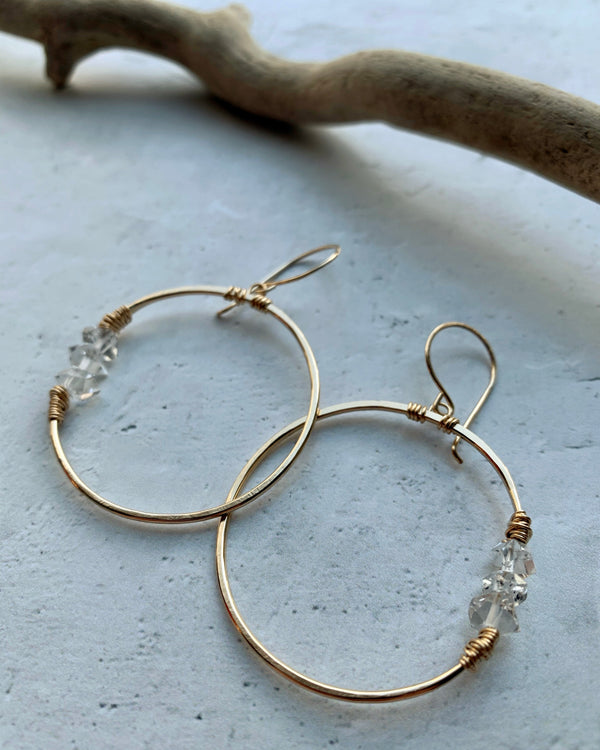 • GEMINI HOOP • herkimer gold earrings