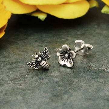• BEE & BLOSSOM • silver stud earrings