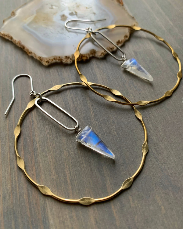 • CELESTIAL NADIR • rainbow moonstone mixed metal hoop earrings