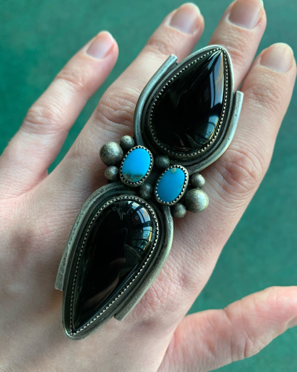 • BLACK WIDOW • onyx, turquoise + silver ring