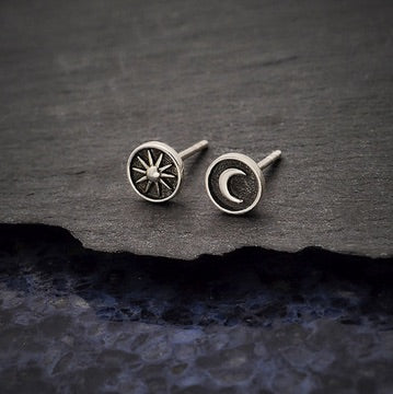 • SUN & MOON COIN • silver stud earrings