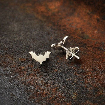 • SMALL FLAT BAT • silver stud earrings