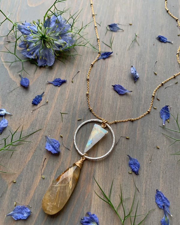 "• LUNA • 16""-18"" rutilated quartz + rainbow moonstone mixed metal necklace"