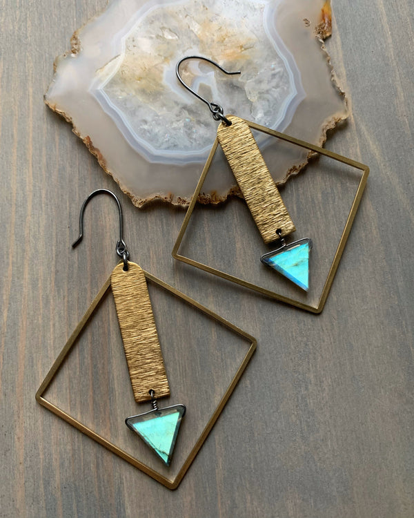 • DRAMATICA • labradorite mixed metal earrings