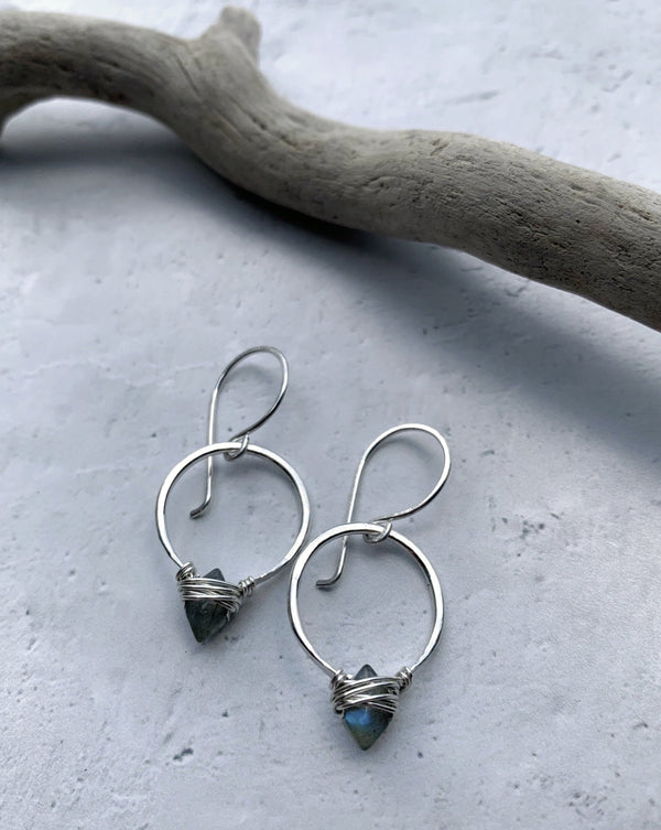 • PIKE HOOP • labradorite sterling silver earrings