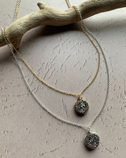 • LUSTER • silver or gold druzy necklace