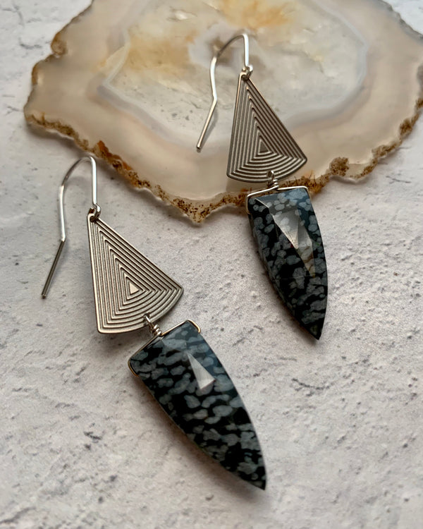 • SYNODIC DAY •  snowflake obsidian silver earrings