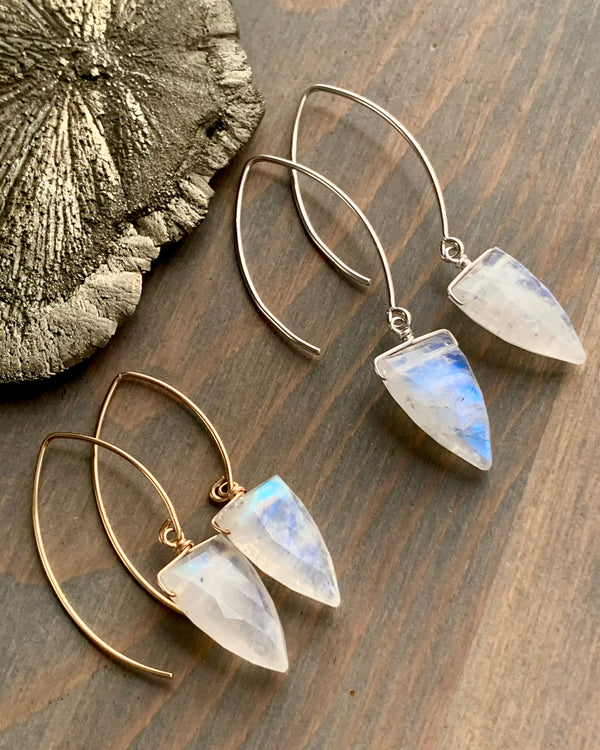 • STRAY • rainbow moonstone simple silver or gold earrings