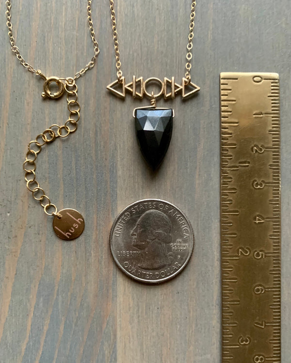 • AFEW [air, fire, earth, water] • black spinel + gold necklace