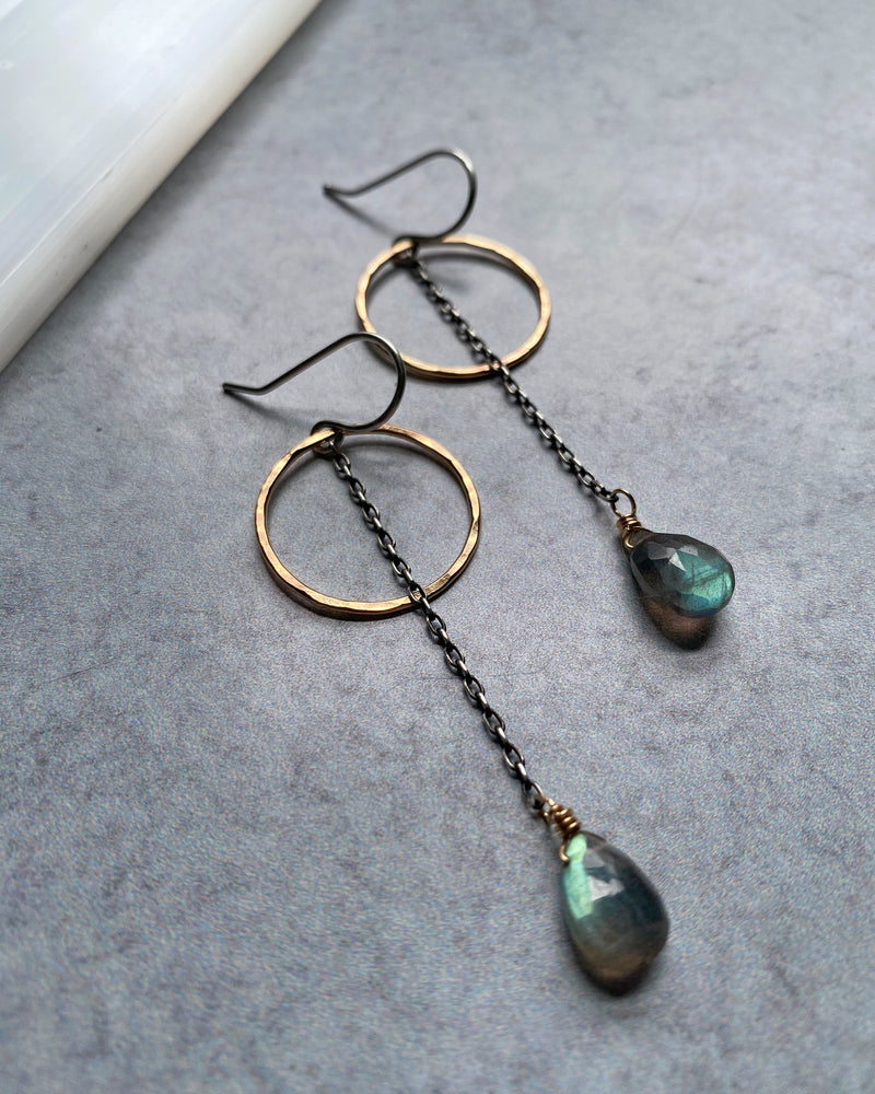 • ECLIPSE • labradorite mixed metal earrings
