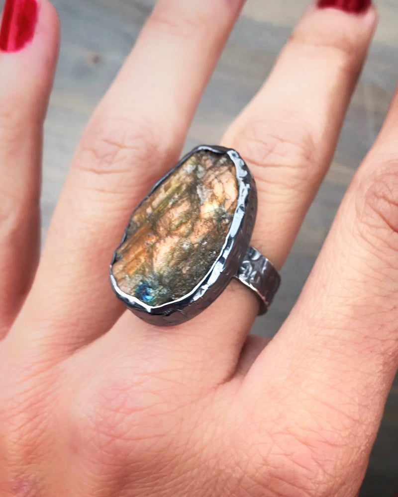 • RAW LABRADORITE • Silver Ring