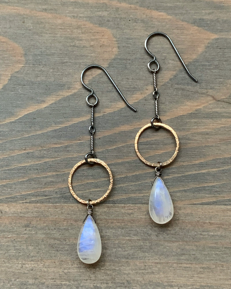 • APOGEE • rainbow moonstone mixed metal earrings