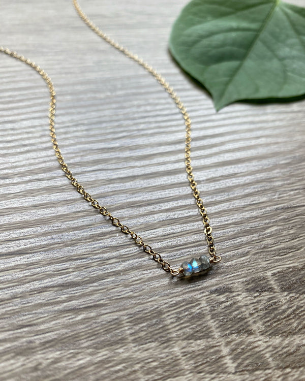 • DAINTY SWEET • labradorite gold necklace