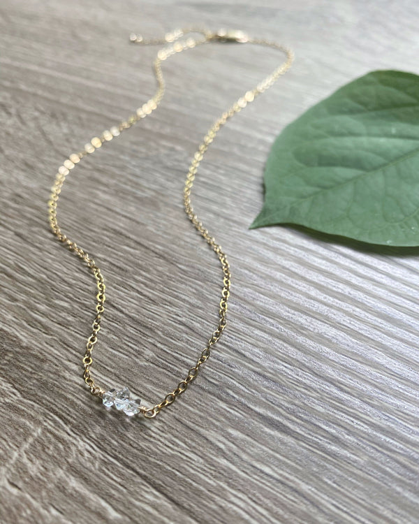 • DAINTY SWEET • herkimer gold necklace