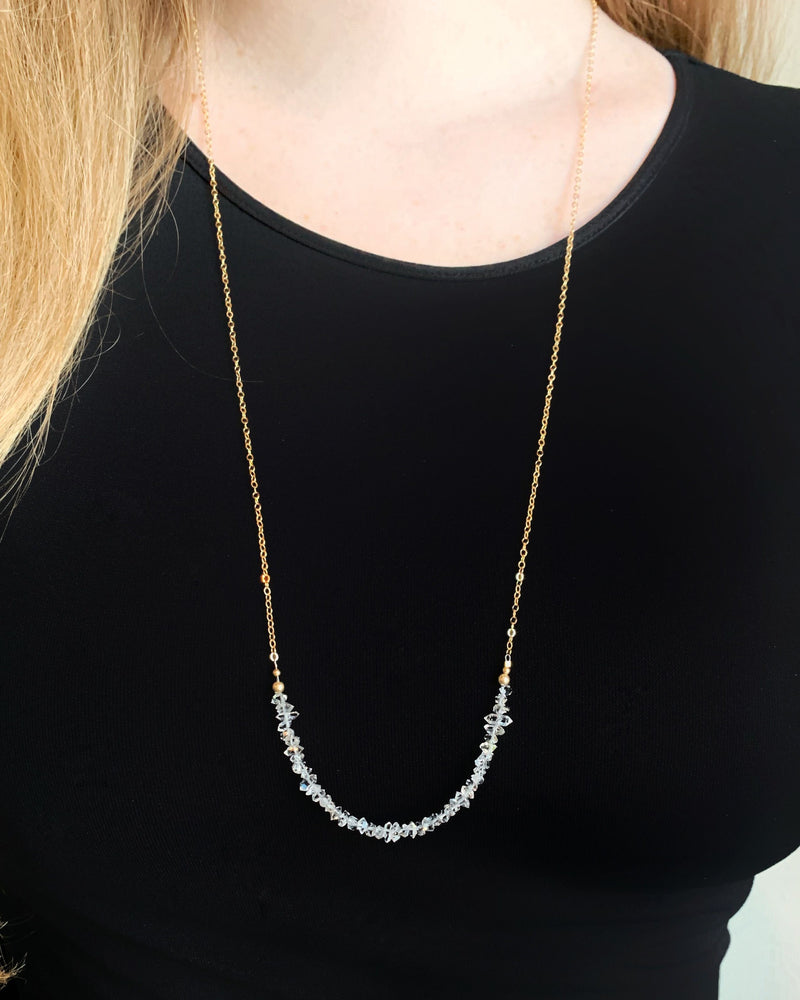 • ICE QUEEN • herkimer gold necklace
