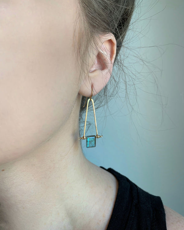 • A FRAME • labradorite gold earrings