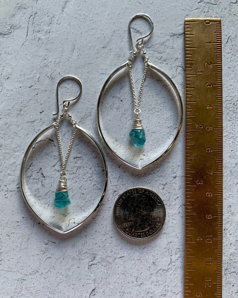 • IRIS HOOP • apatite sterling silver earrings
