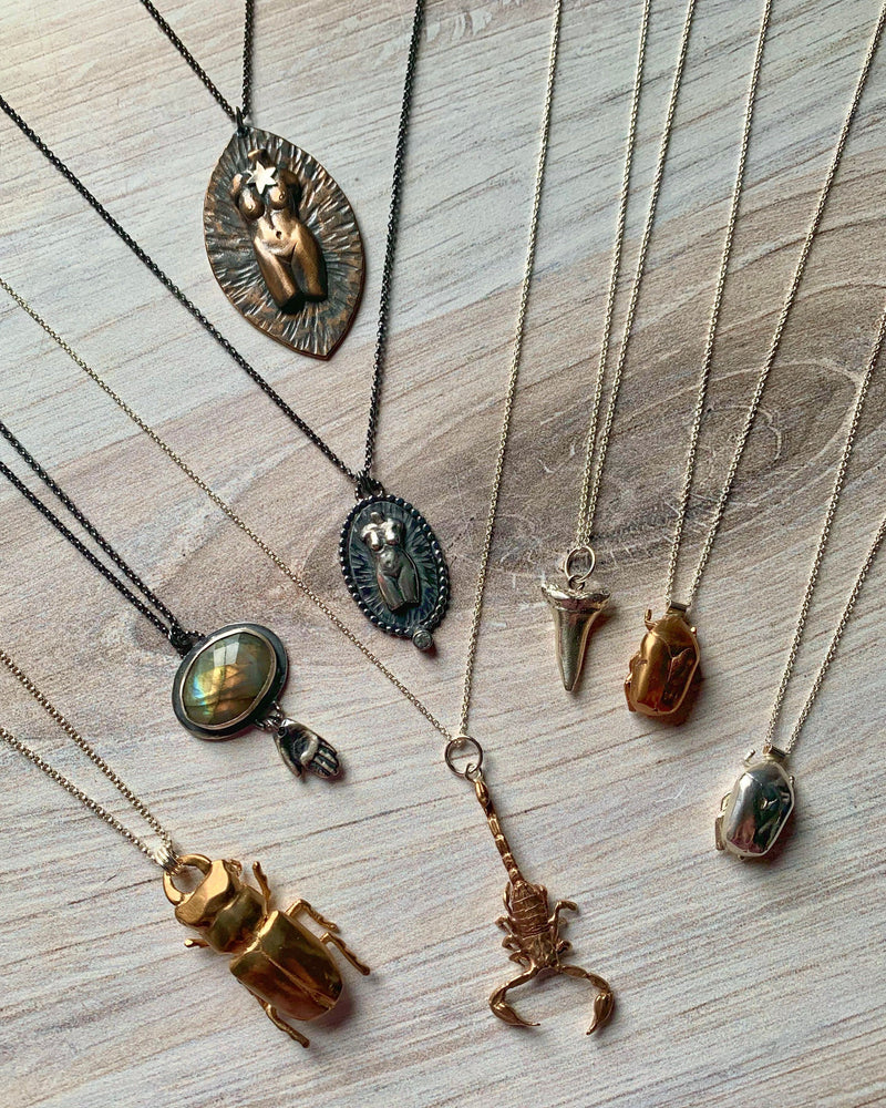 • JAPANESE BEETLE •  bronze + silver necklace