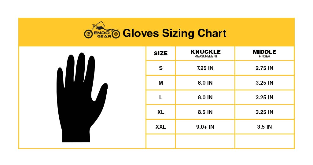 motorcycle Gloves Size Chart