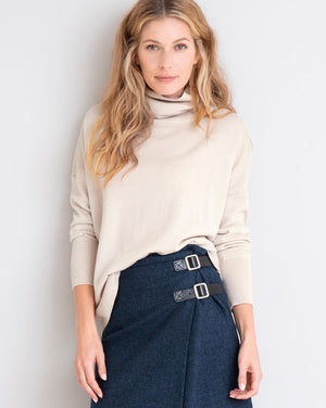 Slouchy Fine Knit Roll Neck - Oatmeal