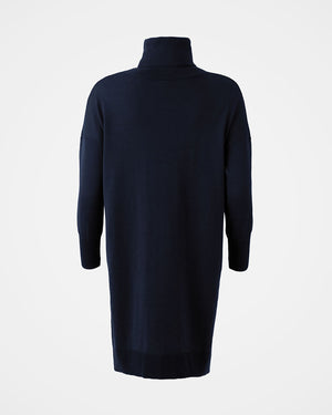 Slouchy Fine knit Roll neck dress - Dark Navy
