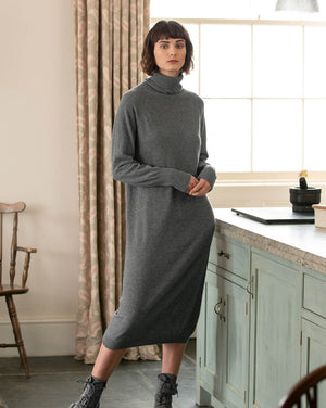 Supersoft Roll Neck Dress - Derby Grey