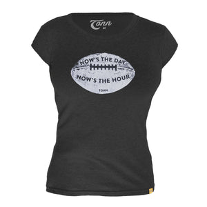 Ladies Now is the Day Rugby Tee - Petite Fit - Black.  Only M & L left