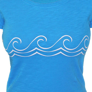 Ladies Celtic Wave Tee Bright Blue - Petite Fit - Only 1 XXL left!