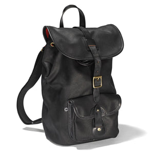 Waxed Black Rucksack - Drawstring