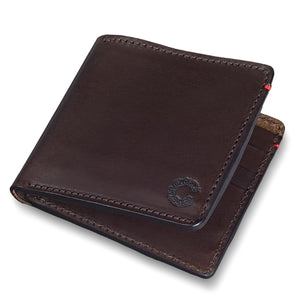 Vintage Leather Folding Wallet Dark Brown