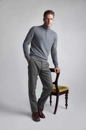 Johnstons of Elgin Zip 100% Merino Wool Sweater - Grey