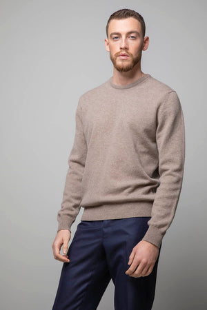 Johnstons of Elgin Round Neck 100% Merino Wool Sweater - Oatmeal