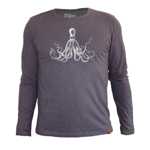 Long Sleeve Organic Cotton Tee Grey Octopus