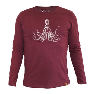 Long Sleeve Organic Cotton Tee Wine Octopus