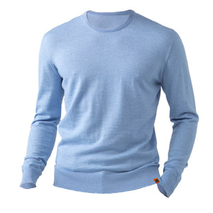 Round Neck 100% Merino Wool Sweater - Light Blue