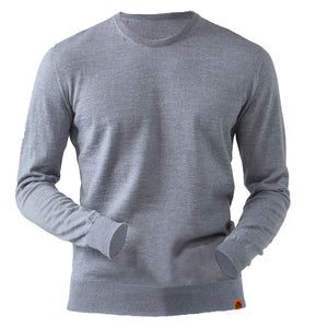 Round Neck 100% Merino Wool Sweater - Grey