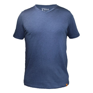 NAVY V NECK PLAIN ORGANIC TEE SHIRT