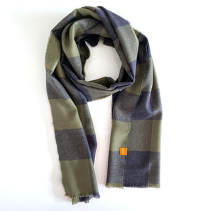 Extra Fine 100% Merino Wool Scarf - Navy and Green Check.