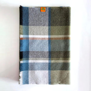 Extra Fine 100% Merino Wool Scarf - Green/Navy/Black Check
